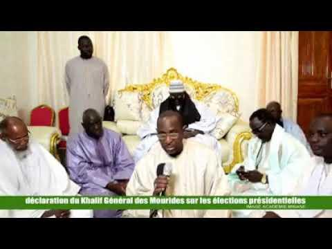 Declaration du Khalif General des Mourides au sujet des élections présidentiels