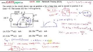 GATE 2009 ECE Find the current i(t) for the circuit shown