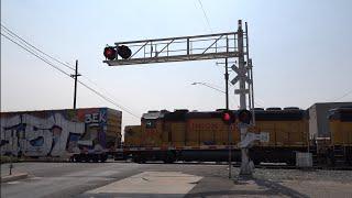 UP 1939 LRS93/LRS51 Local Shoving East/South, S. Aurora St. Railroad Crossing, Stockton CA