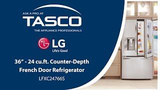 LG 36-inch Counter-Depth French Door Refrigerator (LFXC24766S) - Tasco Product Showcase