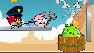 Angry Birds Take A Shower 2 - TAKE WATER WELLS BACK FROM PIGGIES BY KICKING HIM!
