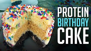 Triple Layer Protein Birthday Cake Recipe in Less Than 5 Mins!
