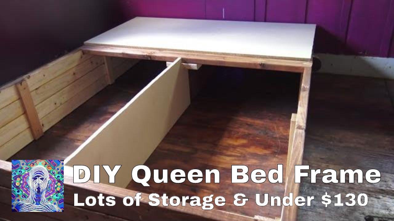 Diy Queen Bed Frame With Storage Under 130