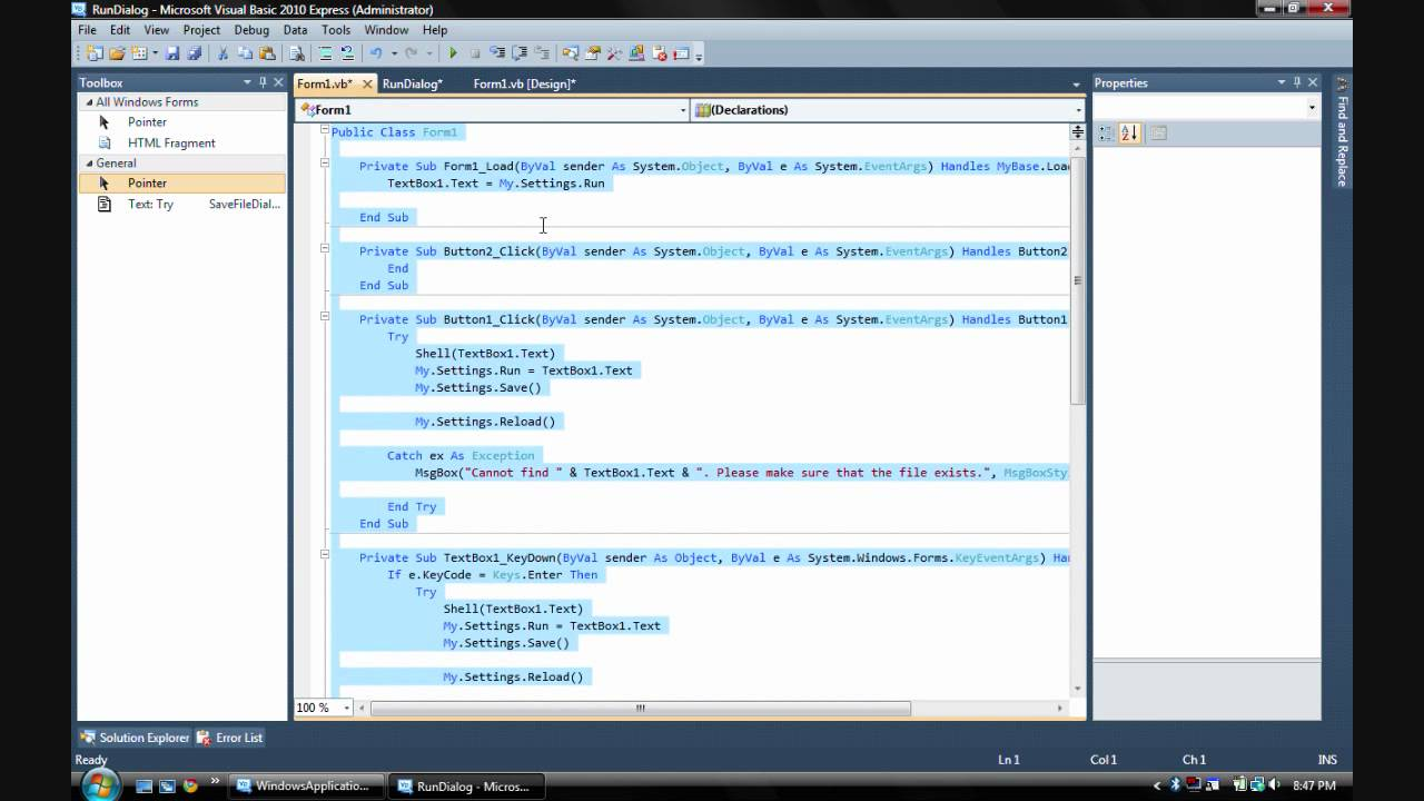 How To Make A Run Dialog In Visual Basic 2008 Or 2010 Youtube