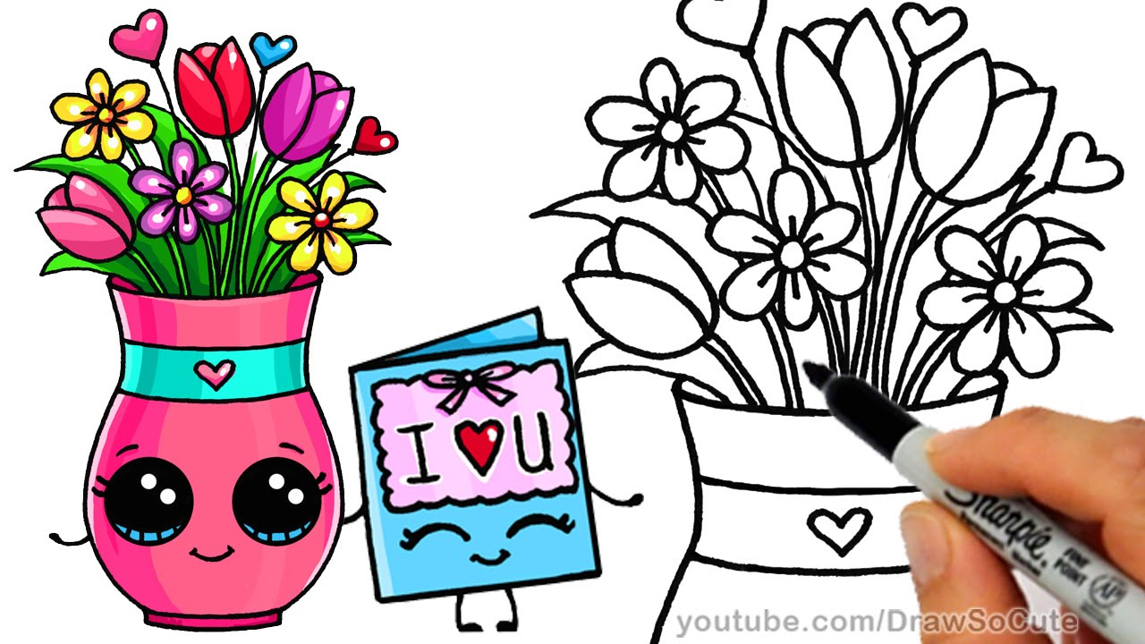 How To Draw A Vase With Flowers And Cute Card Step By Step