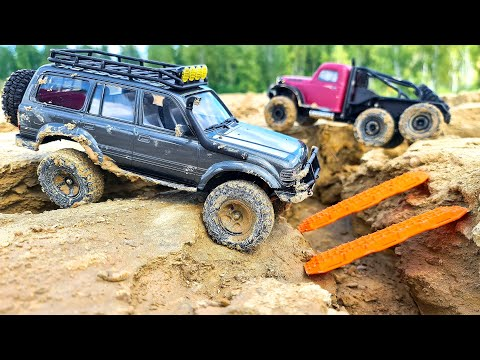Toyota LC80 4x4 vs Atlas 6x6 Review and Test Drive – RC Cars MUD OFF Road