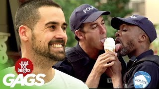 Two Cops Sharing an Ice Cream Cone Prank
