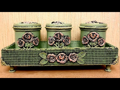 DIY /Vintage plastic cans  decoration idea/Cardboard crafts