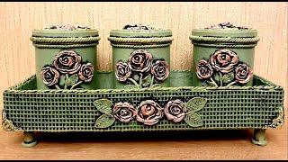 DIY /Vintage plastic cans  decoration idea/Cardboard crafts