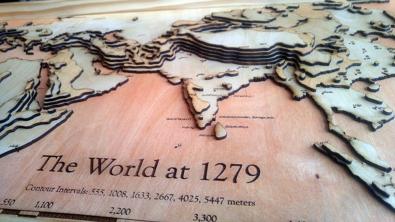 Lasercut 3D Topographic wood map of the world at 1279   YouTube