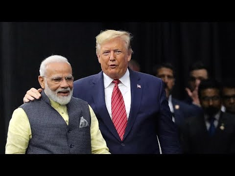 Howdy Modi: US President Donald Trump arrives at Houston's NRG stadium