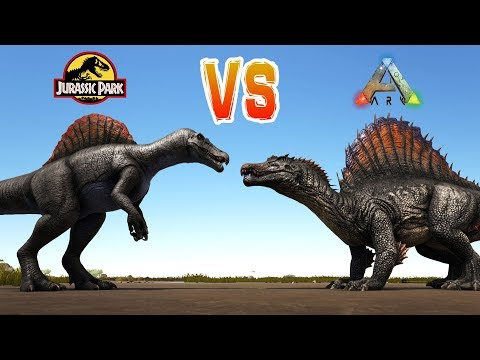 ARK SPINO VS JURASSIC PARK SPINO!! Ark Survival Evolved Dino Battles Spino vs Spino