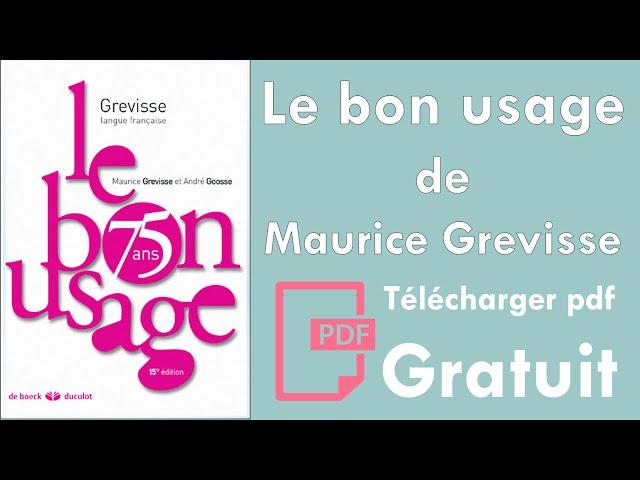 USAGE TÉLÉCHARGER MAURICE BON GREVISSE GRATUITEMENT