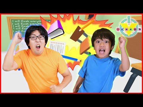 Roblox Escape School Obby ESCAPE DETENTION Lets Play Ryan Vs Daddy