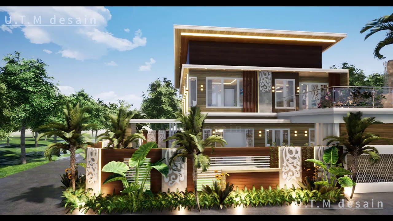 Desain Rumah Minimalis Modern Tropis 2 Lantai Kayu Atap Datar Di Lahan 16 X 17 Youtube