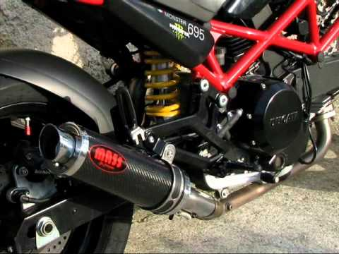 mass exhausts ducati monster m 695 - youtube