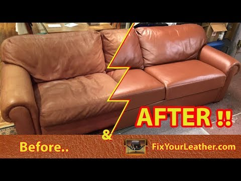 Our Leather Repair Dyes Used On This Old Faded Worn Couch
