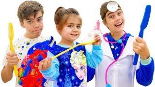 Nastya, Artem e Mia - uma história para as crianças sobre a importância de escovar os dentes