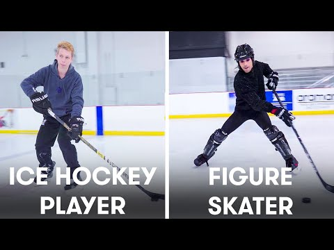 Figure Skaters Try to Keep Up With Hockey Players | SELF