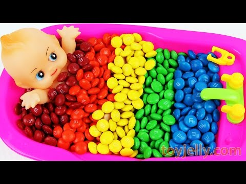 Thumbnail: Baby Doll Bath Time Learn Colors M&Ms Nursery Rhymes Finger Family Song Bubble Gum Pez Color Song