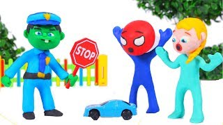 FUNNY KIDS POLICE STOPS THE BLUE CAR ❤  Play Doh Cartoons For Kids