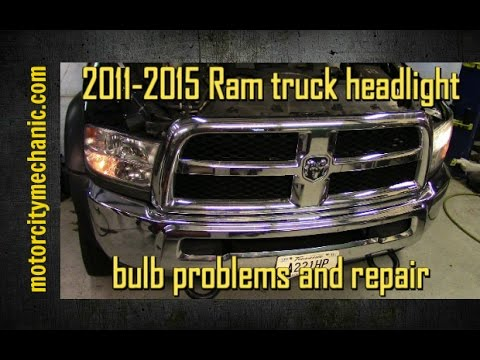 2011-2015 Ram truck headlight bulb problems and repair - YouTube