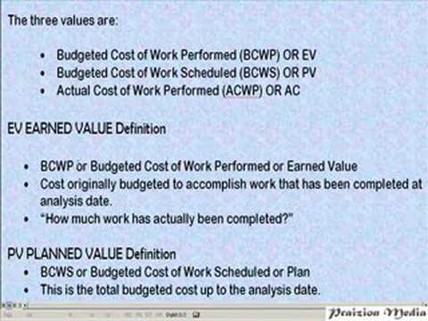 EARNED VALUE, CPI, SPI, CV, EV?- PMP EXAM PREP - YouTube - earned value analysis