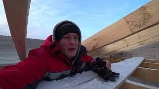 Крыша дома. Фронтон, монтаж стропильной системы, Холодная кровля. Строительство дома 9х12,