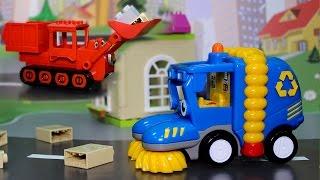 Мультик - Машинки соревнуются в уборке города. Мультфильмы для детей про рабочие машины.
