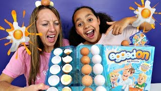 EGGED ON Egg Roulette Game Family Fun Challenge | Messy Real Food Eggs | Kinder Surprise