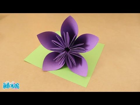 tutoriel origami fabriquer une fleur origami hellokids. Black Bedroom Furniture Sets. Home Design Ideas