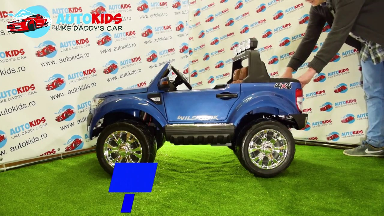 NEW Ford Ranger 650 masina electrica pt copii, 4 motoare, ecran LCD, Roti din spuma cauciucata EVA