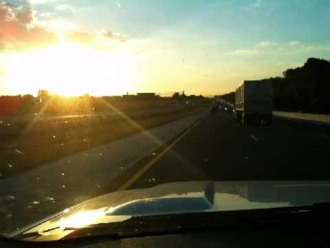 Driving into sunset on Electric Avenue