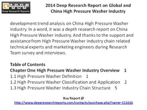 International and China High Pressure Washer Up and Down Stream Industry Analysis