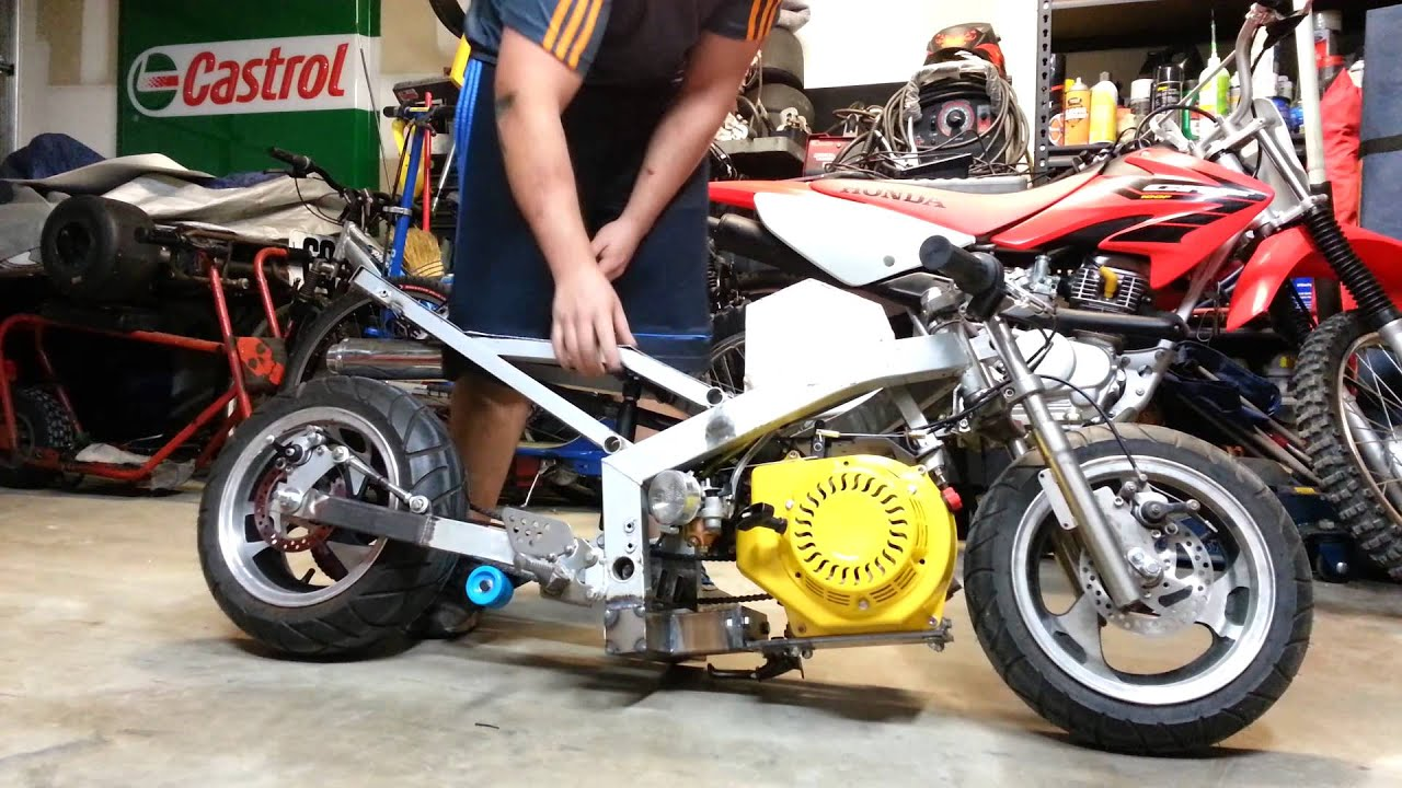 stretched 15hp clone pocket bike youtube