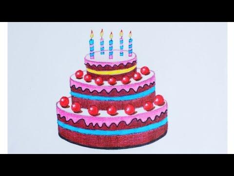 Уроки рисования. Как нарисовать тортик фломастерами ArtBerry how to draw a cake