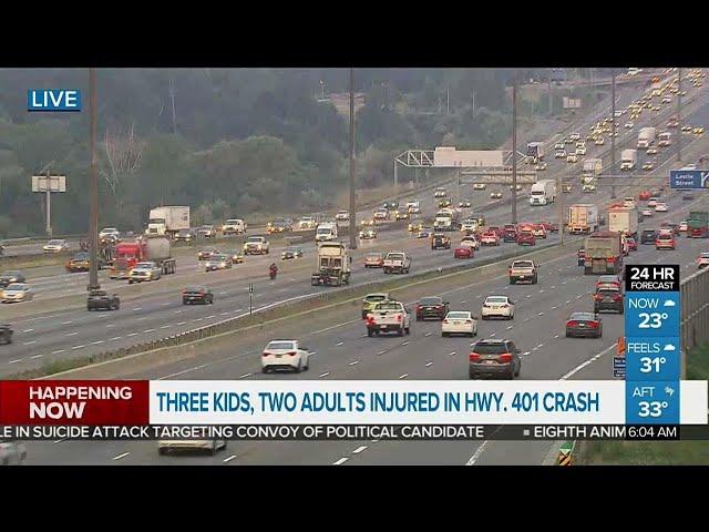 Hwy  401 crash sends 5 to hospital