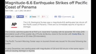 Magnitude-6.6 Earthquake Strikes off Pacific Coast of Panama.