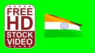 FREE HD video backgrounds – India flag waving on green screen 3D animation