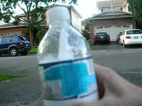 blowing up a water bottle