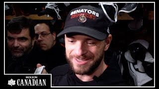Marian Gaborik speaks with the media ahead of his debut with the Se...