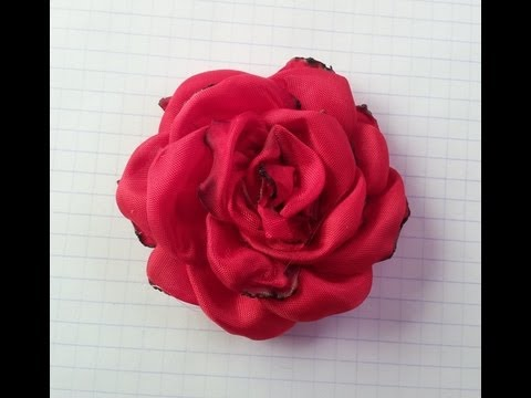 ROSA ROJA EN TELA,FLOR HECHA A MANO (RED ROSE IN FABRIC, FLOWERS ...