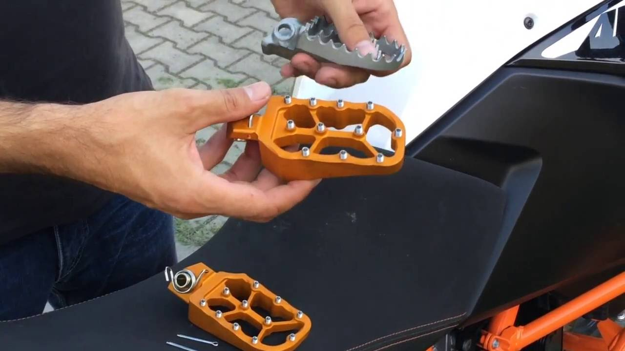 ktm low & large foot pegs introduction rade garage - youtube