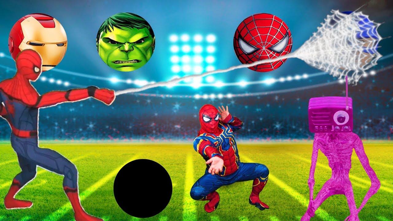 Superheroes Play Football Siren head! Wrong Superheroes Puzzle 리콩수콩 슈퍼히어로 축구공 맞추기놀이