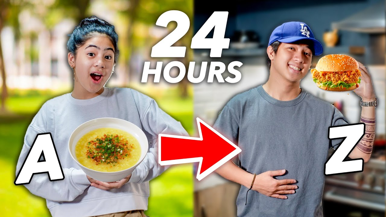 Eating In Alphabetical Order!! (A To Z Food Challenge)   Ranz and Niana