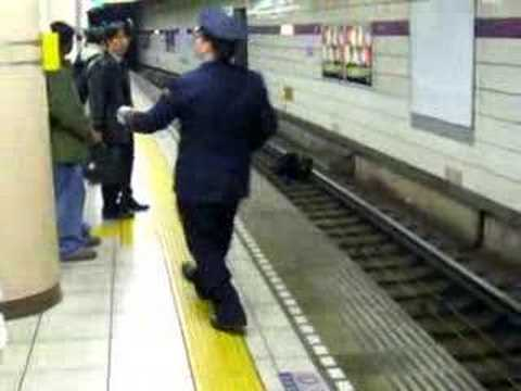 Drunk Man Falls on Tracks - Shibuya