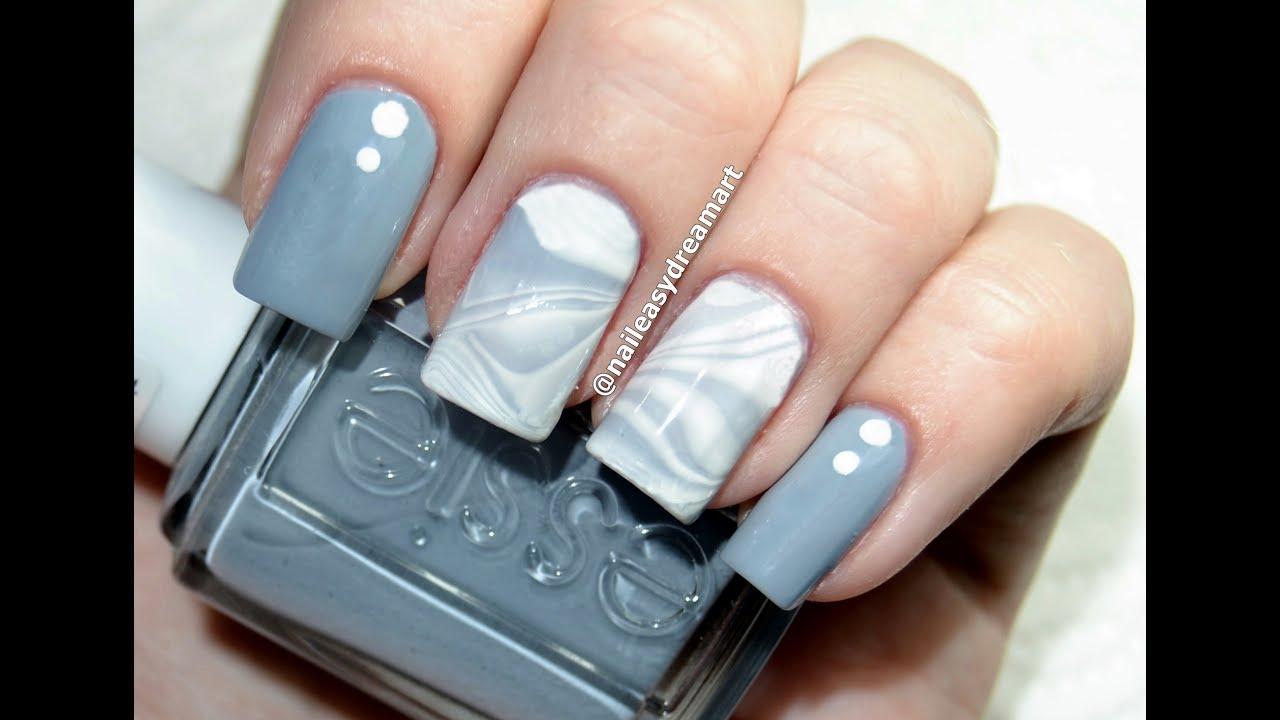 diy water marble nail art gray