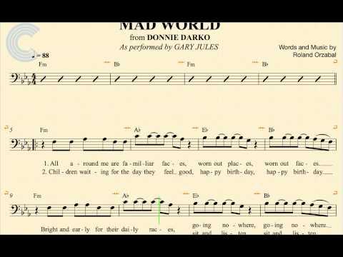 Cello - Mad World - Gary Jules - Donnie Darko - Sheet Music, Chords, & Vocals