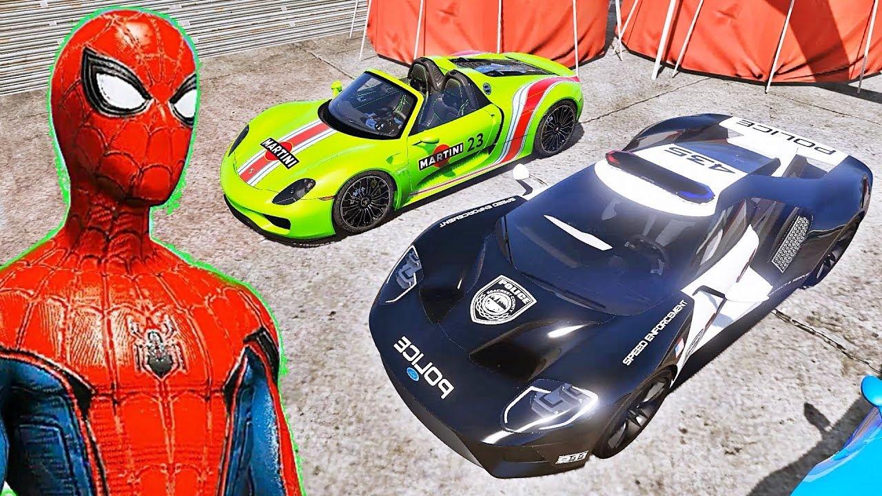 CARROS Esportivos com HOMEM ARANHA e SUPER HERÓIS! Desafio de Super Carros no Aeroporto - IR GAMES