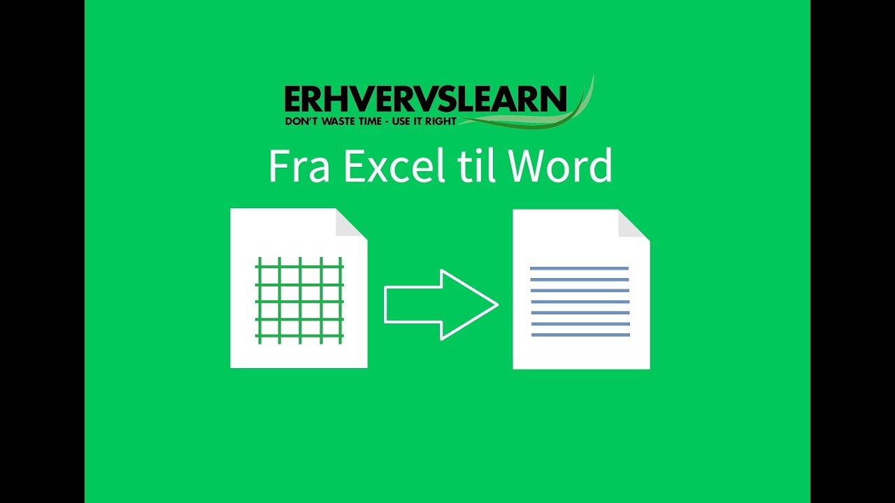 Kopier fra Excel til Word